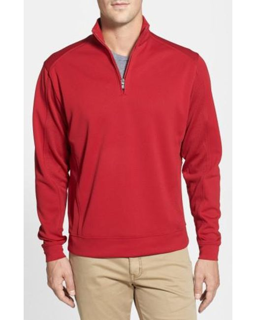 Cutter & Buck | Red Drytec Half Zip Pullover for Men | Lyst