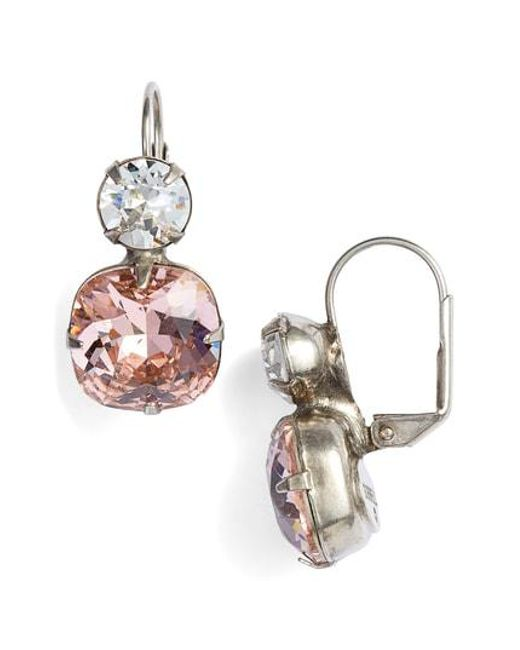 Sorrelli - Pink On The Edge Crystal Drop Earrings - Lyst