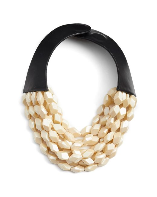 Fairchild Baldwin - Metallic Oval Bella Beaded Collar Necklace - Lyst