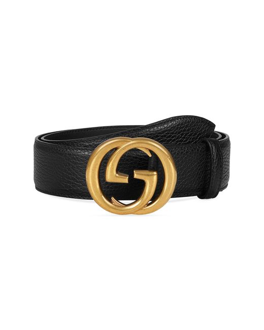 Gucci - Black Interlocking-g Calfskin Leather Belt for Men - Lyst