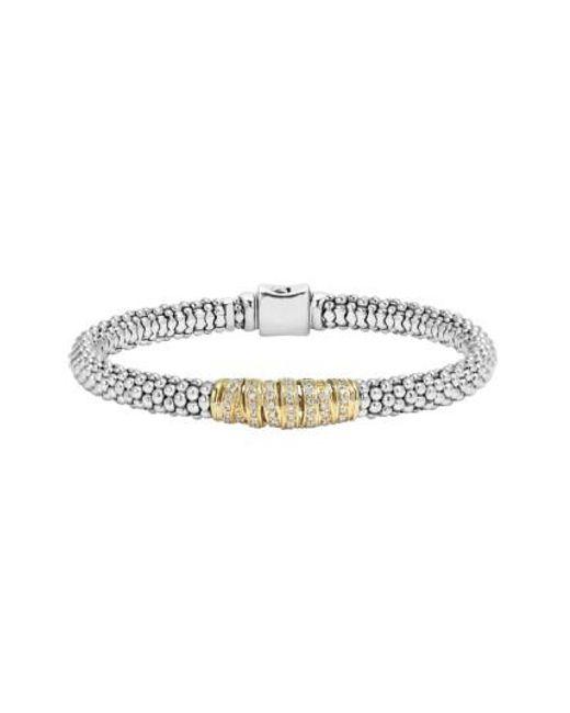 Lagos   Metallic 'diamonds & Caviar' Diamond Bracelet   Lyst