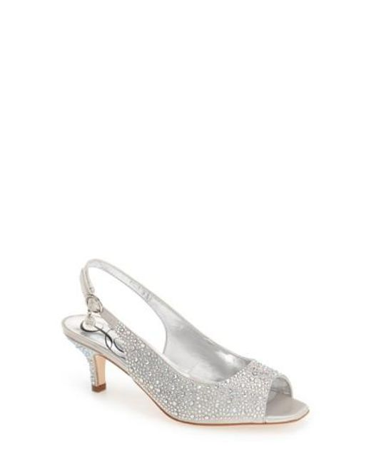 J. Reneé - Metallic 'impuls' Crystal Embellished Slingback Pump - Lyst