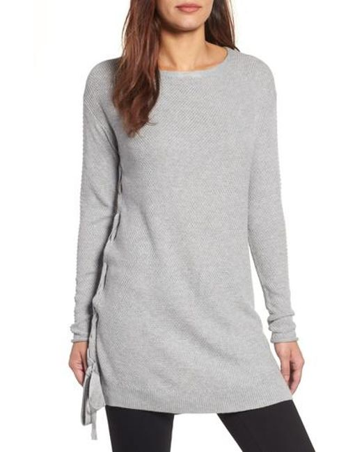 Caslon - Gray Caslon Side Tie Seed Stitch Tunic Top - Lyst