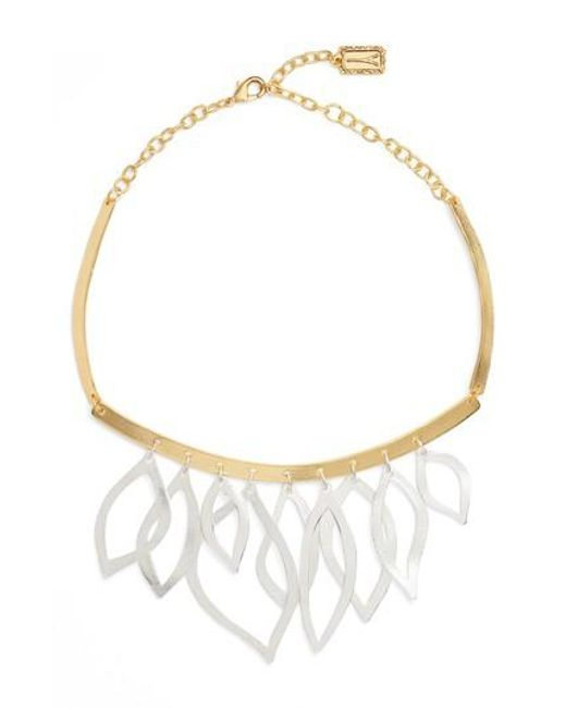 Karine Sultan - Metallic Two-tone Frontal Necklace - Lyst