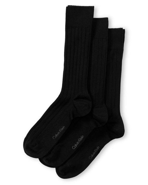 Calvin Klein Blue 3-pack Wide Rib Dress Socks, Brown for men