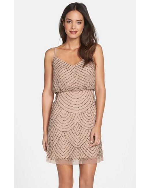 Adrianna Papell - Natural Sequin Mesh Blouson Dress - Lyst