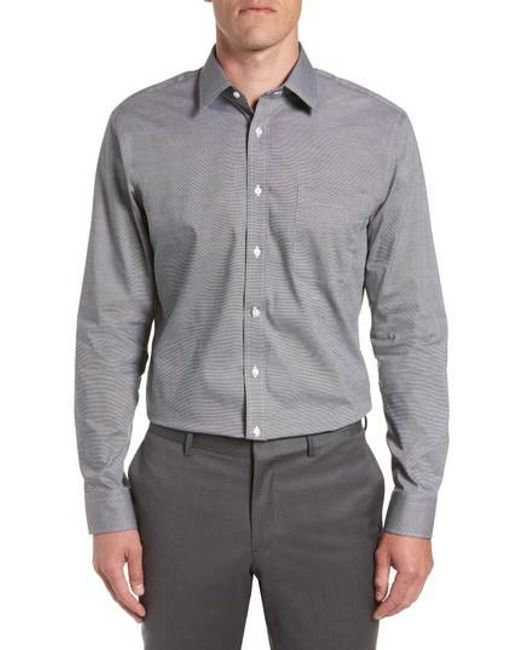 Nordstrom - Gray Trim Fit Non-iron Solid Dress Shirt for Men - Lyst