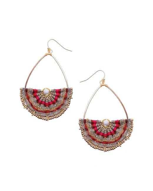 Nakamol Red Woven Teardrop Earrings