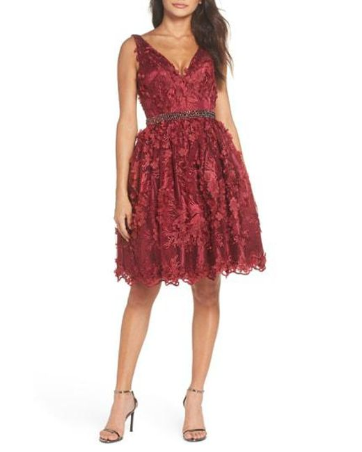 Mac Duggal - Red Floral Applique Fit & Flare Dress - Lyst