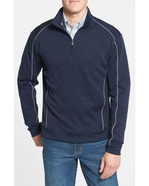 Cutter & Buck | Blue 'drytec Edge' Half Zip Mesh Pullover for Men | Lyst