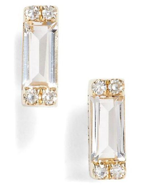 EF Collection | Metallic Diamond & Topaz Baguette Stud Earrings | Lyst