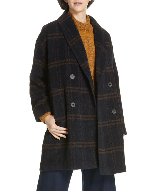Eileen Fisher - Black Double Breasted Plaid Alpaca Blend Coat - Lyst