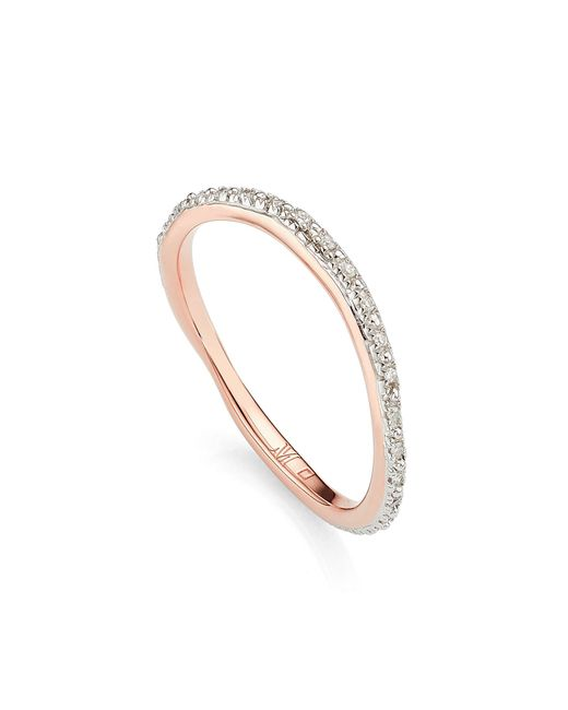 Monica Vinader - Metallic Riva Wave Diamond Eternity Ring - Lyst