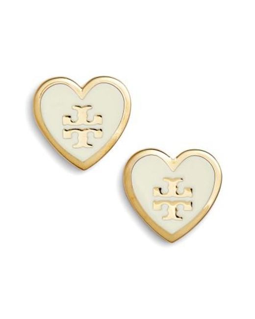 Tory Burch | Metallic Logo Heart Stud Earrings | Lyst