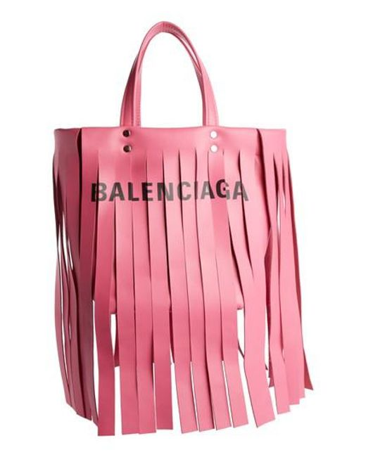 Fringed Printed Leather Tote - Red Balenciaga jcHUFYM