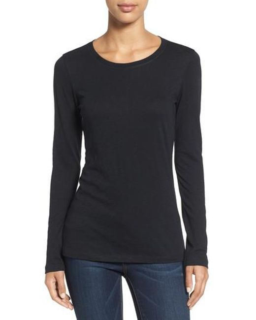 Caslon - Black Caslon Long Sleeve Slub Knit Tee - Lyst