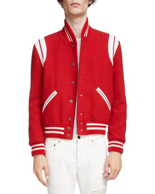 Saint Laurent Red Banded Teddy Varsity Jacket for men