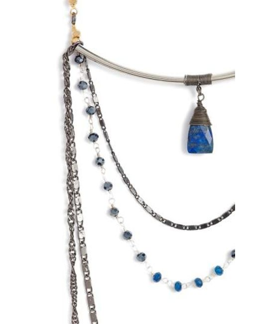 Nakamol | Blue Layered Chain & Crystal Necklace With Lapis Pendant | Lyst