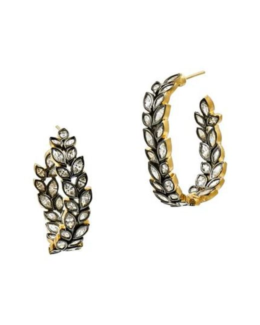 Freida Rothman | Metallic Fleur Bloom Hoop Earrings | Lyst