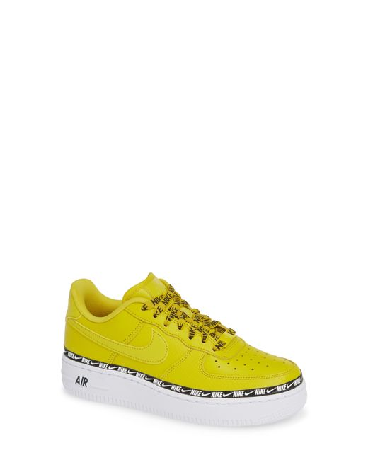 wholesale dealer a33f9 2c758 Nike - Yellow Air Force 1 Swoosh Tape Trainers - Lyst ...