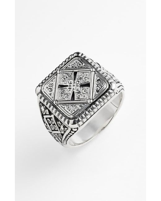 Konstantino Metallic 'classics' Cross Square Ring for men