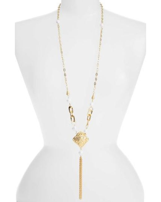 Karine Sultan - Metallic Long Y-necklace - Lyst