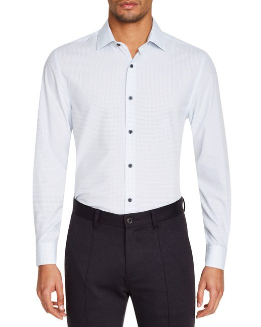 W.r.k. Gray Slim Fit Performance Stretch Check Dress Shirt for men