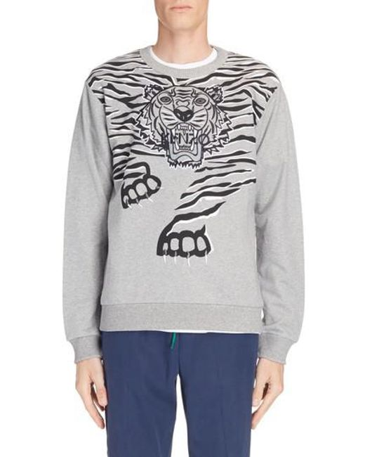 KENZO - Gray Big Tiger Print & Embroidered Sweatshirt for Men - Lyst