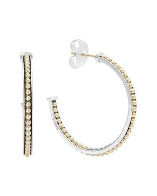 Lagos - Metallic 'enso' Caviar Hoop Earrings - Lyst