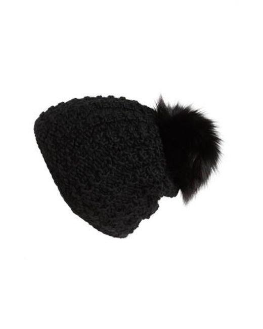 Kyi Kyi | Black Genuine Fox Pompom Hat | Lyst