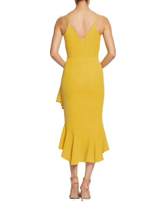 53facc21df6 ... Dress the Population - Yellow Wendy High low Ruffle Cocktail Dress -  Lyst