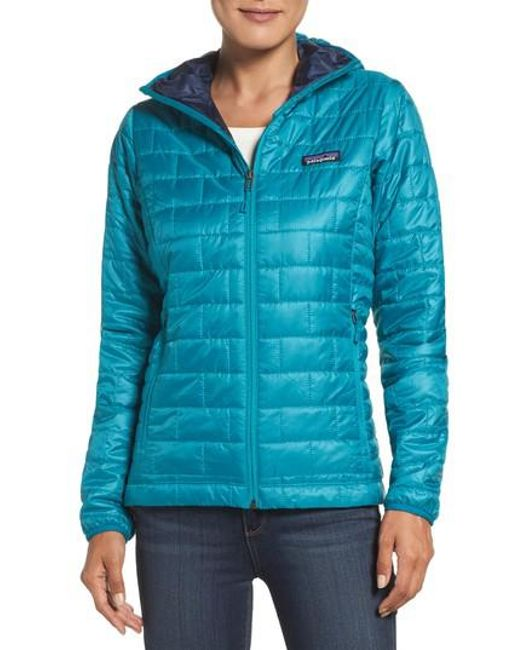 Patagonia - Blue Nano Puff Hooded Water Resistant Jacket - Lyst