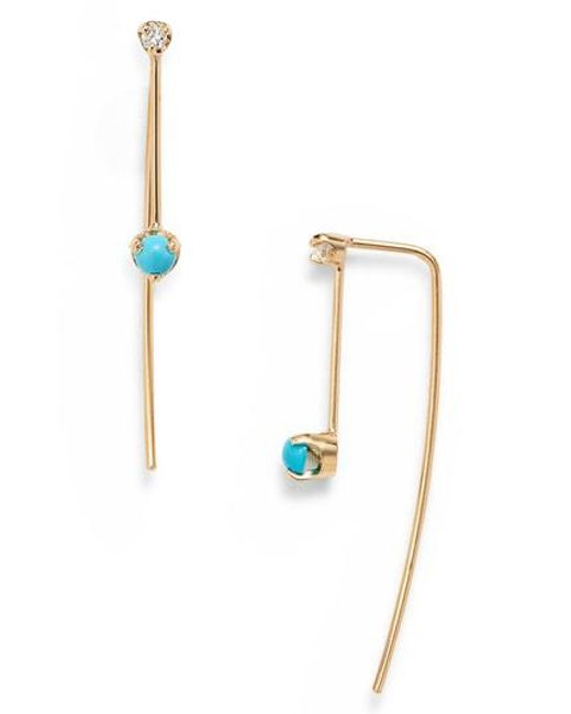 Zoe Chicco Multicolor Turquoise Diamond Threader Earrings Lyst