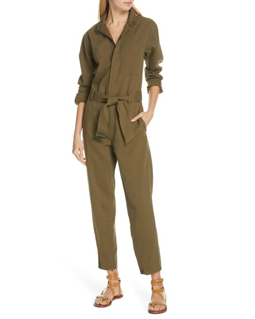 8e573b7a23c Lyst - Polo Ralph Lauren Belted Slim Jumpsuit in Green