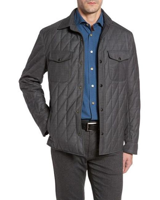 Luciano Barbera Classic Fit Quilted Wool Blend Shirt