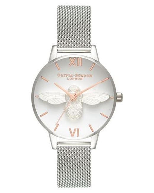 Olivia Burton - Metallic Bee Mesh Strap Watch - Lyst