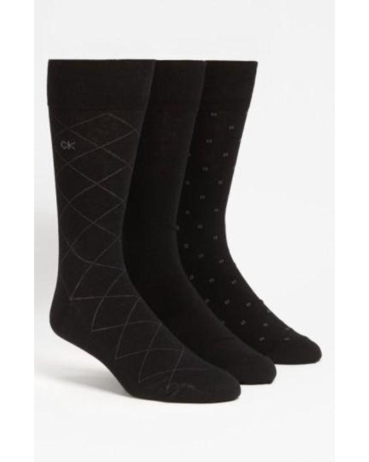 Calvin Klein | 3-pack Patterned Socks, Black for Men | Lyst