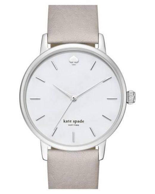 Kate Spade | Gray 'metro' Round Leather Strap Watch | Lyst