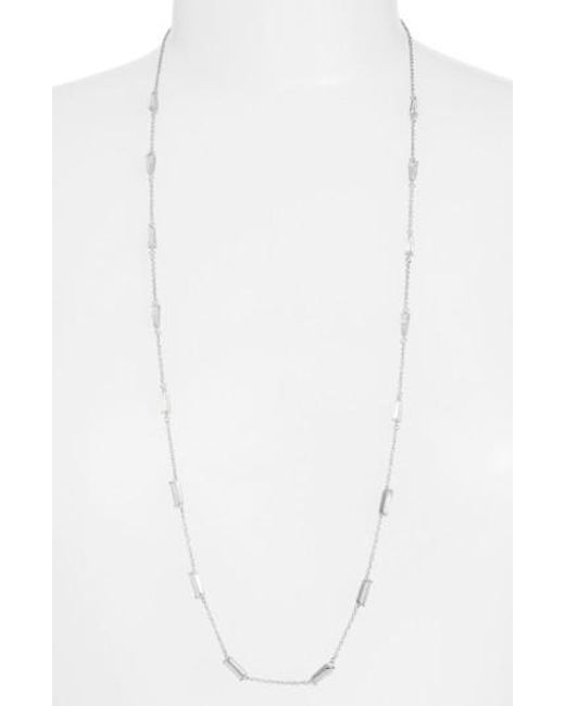 CZ by Kenneth Jay Lane | Metallic Long Baguette Cubic Zirconia Station Necklace | Lyst