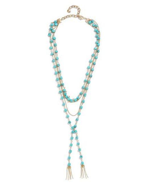 BaubleBar - Blue Oralia Layered Y-chain Necklace - Lyst