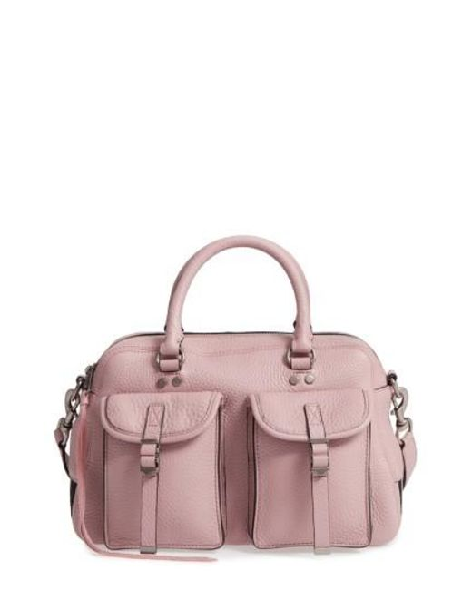 Rebecca Minkoff | Pink Military Pocket Leather Satchel | Lyst