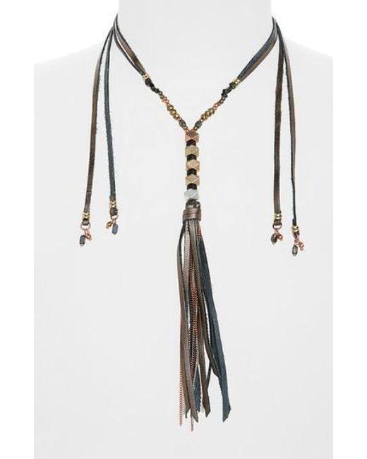 Nakamol | Gray Leather & Metal Tassel Lariat Necklace | Lyst