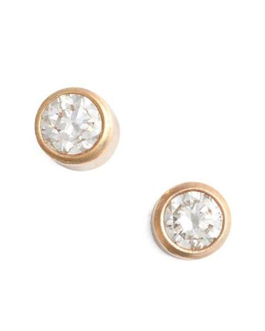 Zoe Chicco   Metallic Diamond Bezel Stud Earrings   Lyst