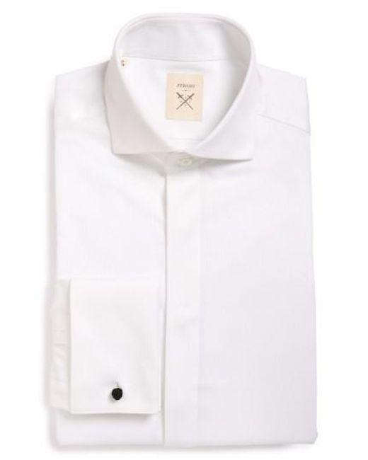 Strong Suit | White 'pique' Trim Fit Tuxedo Shirt for Men | Lyst