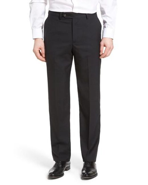 Berle | Gray Flat Front Solid Wool Trousers for Men | Lyst