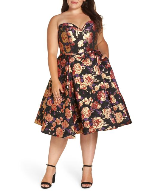 Mac Duggal - Multicolor Bustier Floral Fit & Flare Dress - Lyst