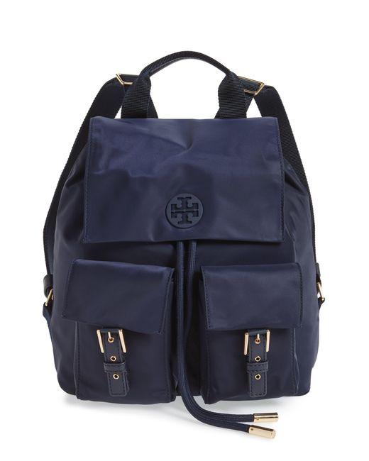 caf732c49eb Tory Burch - Blue Tilda Nylon Flap Backpack - Lyst ...