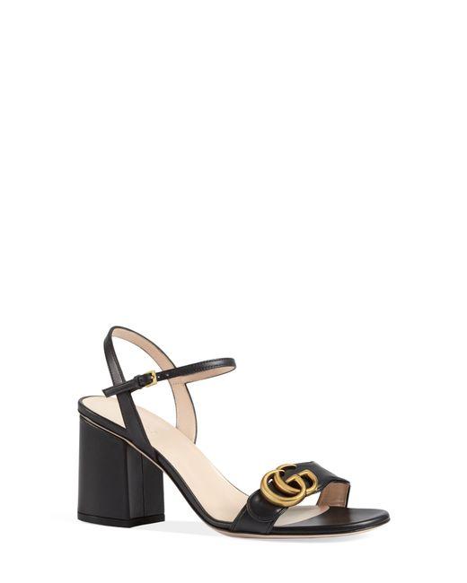 Gucci Black Gg Marmont Block Heel Sandals
