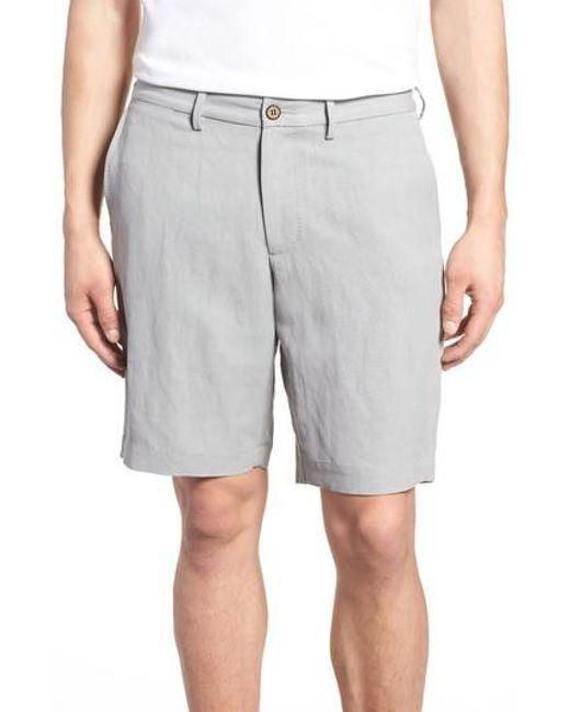 Tommy Bahama - Gray Monterey Flat Front Silk & Linen Shorts for Men - Lyst