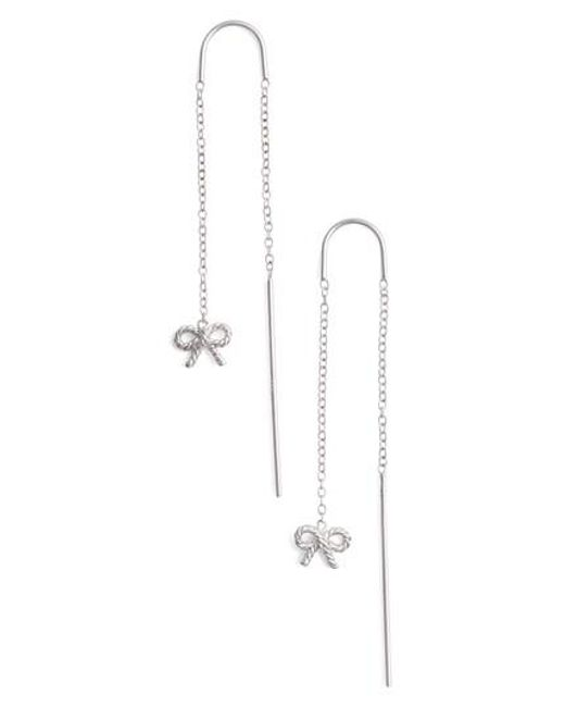 Olivia Burton   Metallic Vintage Bow Threader Earrings   Lyst
